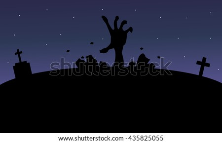 Silhouette of hand zombie Halloween at the night - stock vector