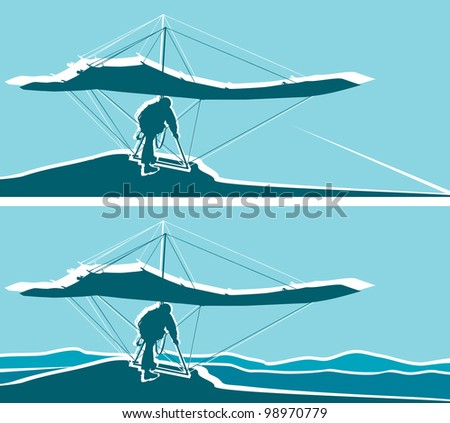 Silhouette of hang glider waiting to take off. Mountains  and blue sky on background. Separate layers