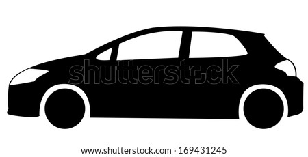 Silhouette of hatchback car (jpg also available in portfolio) - stock vector