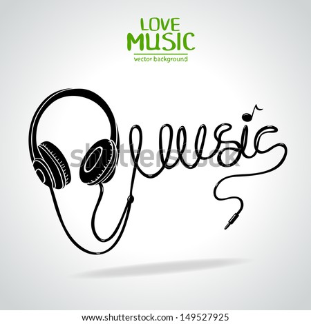 """Silhouette of headphones and a word """"music"""" made of the cable - stock vector"""
