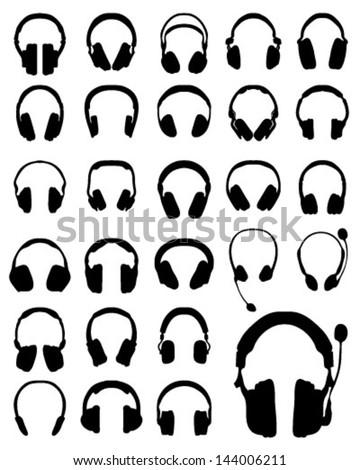 Silhouette of headphones 3-vector - stock vector