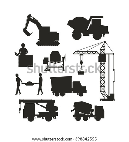 Silhouette of heavy equipment construction and machinery construction equipment silhouette. Machinery industrial. Set of heavy construction equipment silhouette machines icon building transport vector - stock vector