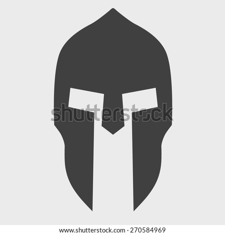 Silhouette of helmet. Vector Illustration isolated on background. - stock vector