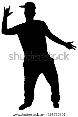 Silhouette of hip hop dancer, vector