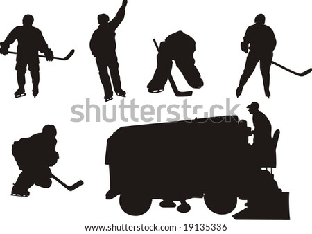 silhouette of hockey players - stock vector