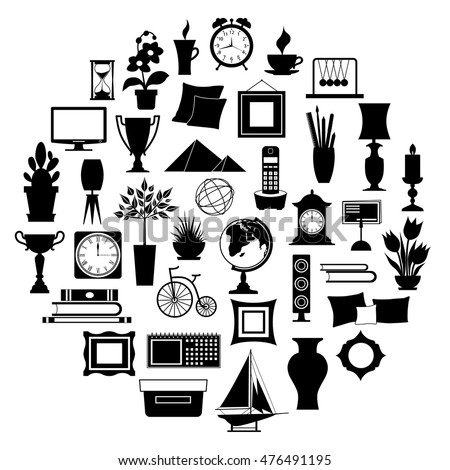 Silhouette home decor set accessories icons stock vector for Interior design images vector