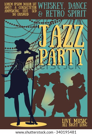 silhouette of jazz band on party poster, vector illustration - stock vector