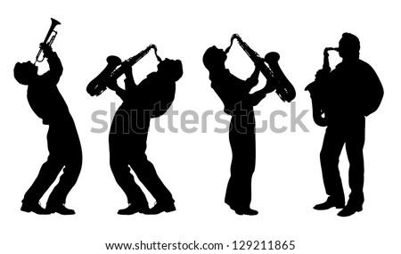 silhouette of jazz musician - stock vector