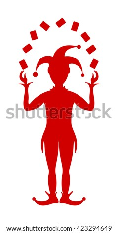 Silhouette of Joker playing with cards  - stock vector