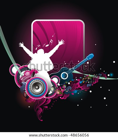 silhouette of jumping men with music wave line, Vector Illustration, no mesh and no flattened transparencies in this vector. - stock vector
