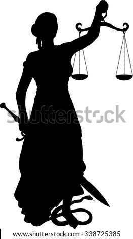 Silhouette of justice with sword and scales foot snake that encircles