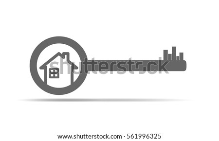 house key. silhouette of key with house icon vector illustration real estate concept