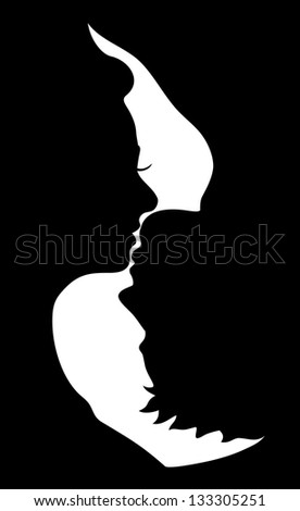 silhouette of kissing couple - stock vector