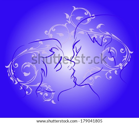 Silhouette of kissing couple on a background of vintage pattern. Vector