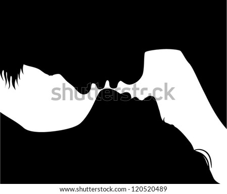 Silhouette of kissing couple - vector - stock vector