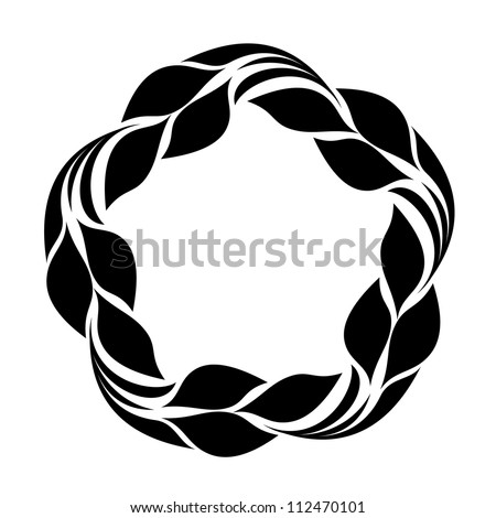 Silhouette of leafs flower - stock vector