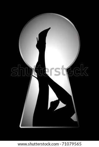 Silhouette of legs of a woman seen through a key hole - stock vector