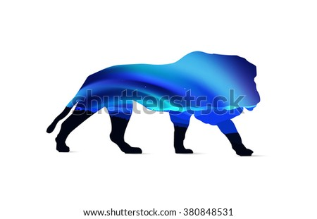 Silhouette of lion with cold winter landscape  and northern lights. Sunset.