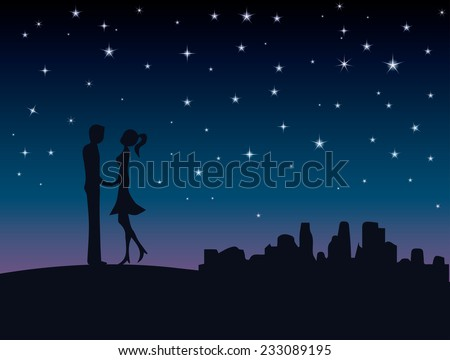 Silhouette of lovers couple who are enjoying their time together at night under a starry sky, on a urban context - skyline of the city is behind - stock vector