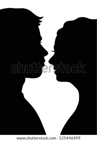Silhouette of loving couple - stock vector