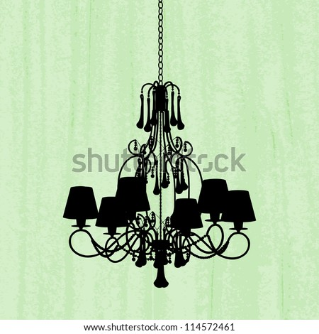 silhouette of luxury chandelier on a scratched green wallpaper/ template design of invitation with chandelier - stock vector