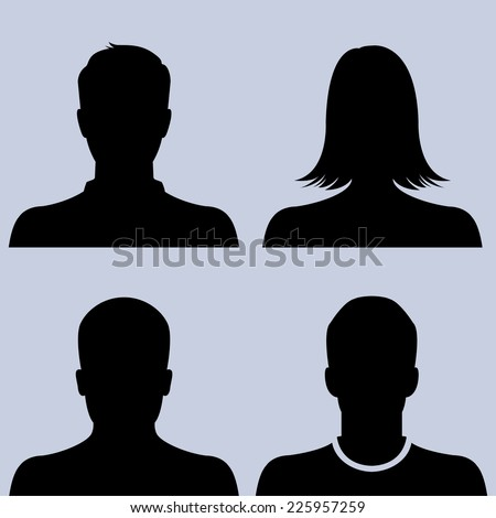 Silhouette of male & female as avatar profile pictures - vector icon set - stock vector