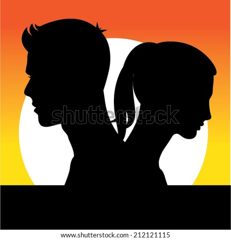 Silhouette of man and woman - stock vector