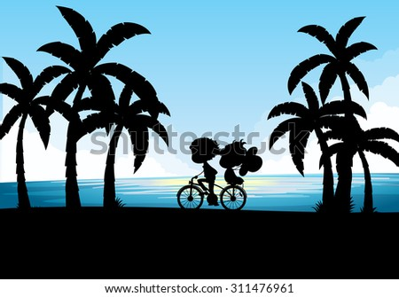 Silhouette of man and woman cycling illustration - stock vector