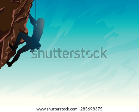 Silhouette of man climbing on a stone wall on the blue sky background. Vector illustration of sport. - stock vector