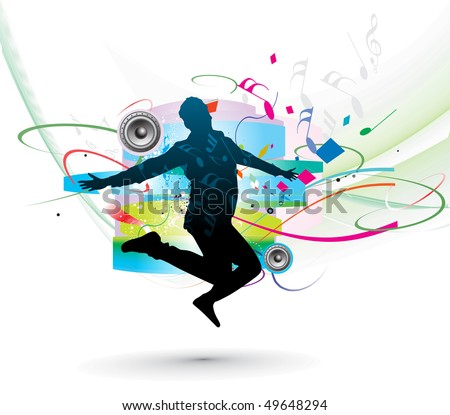 silhouette of man cool looking dancer posing on a music theme background, vector illustration, - stock vector