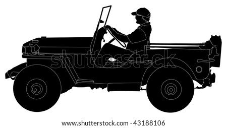 Silhouette of man driving a Jeep - stock vector