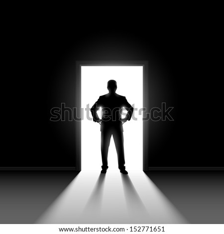 Silhouette of man entering dark room with bright light in doorway.  - stock vector