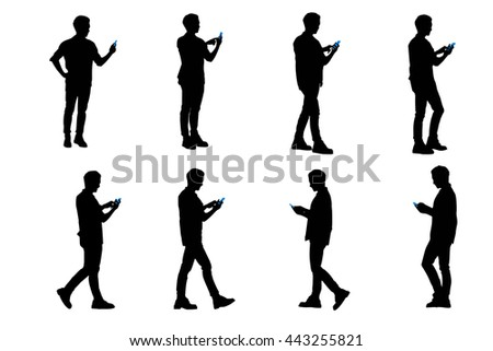 silhouette of man use smart phone and he is walking - stock vector