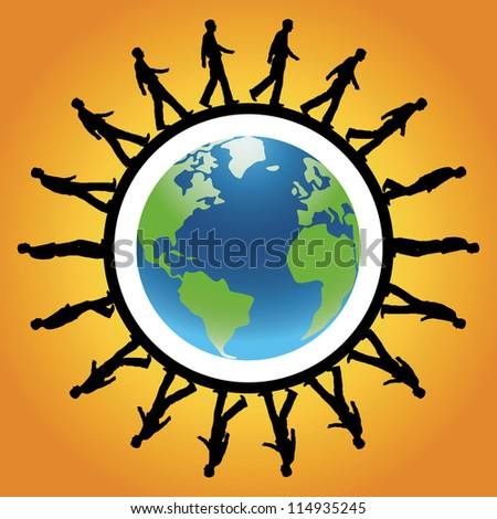 silhouette of man walking around the outside of the world - stock vector