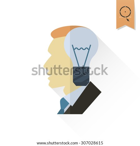 Silhouette of Man with Light Bulb, Idea Concept. Business and Finance, Single Flat Icon. Simple and Minimalistic Style. Vector - stock vector