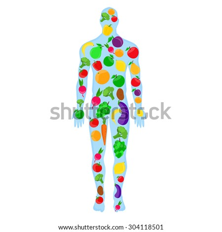 Silhouette of man with of fruit and vegetables. Healthy eating, healthy food illustration. Healthy body.