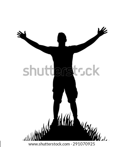 silhouette of man with open arms on hill - stock vector