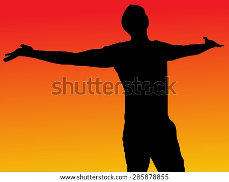 silhouette of man with open arms, vector - stock vector