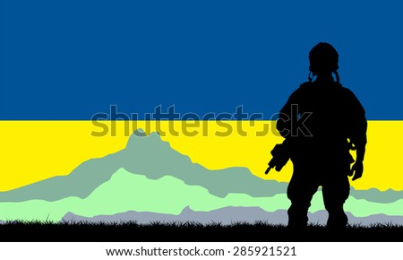 Silhouette of military soldier or officer with weapons against the mountains background and the Ukrainian flag - stock vector