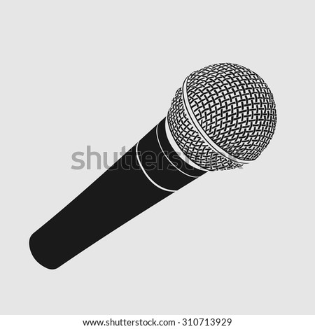 Silhouette of modern metallic microphone on white background. Vector illustration
