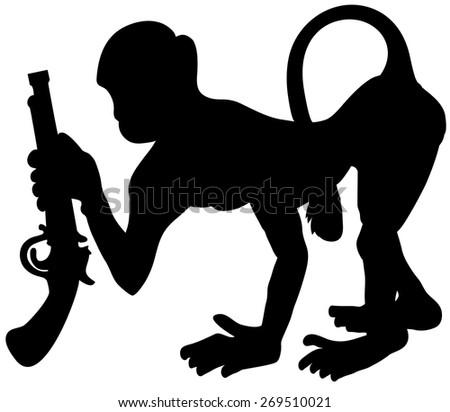 Silhouette of monkey - stock vector