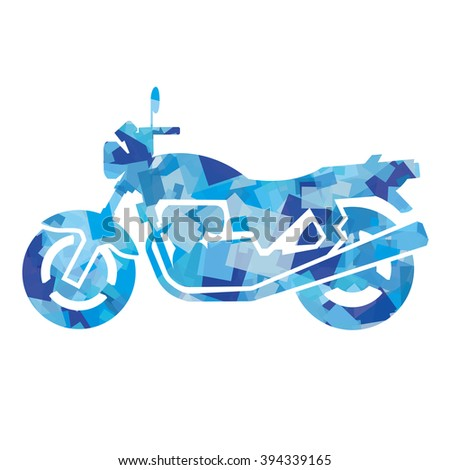silhouette of motorcycle (blue)