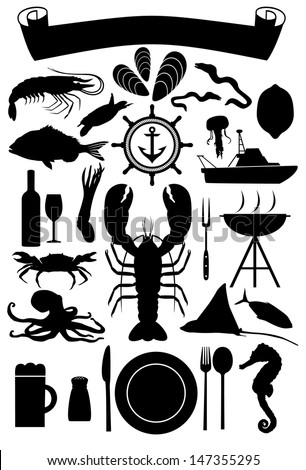 Silhouette of nautical icons and marine life - stock vector