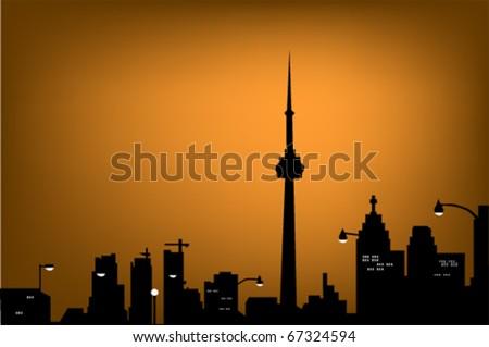 silhouette of night Toronto - stock vector