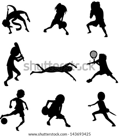 silhouette of nine sports - stock vector