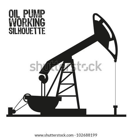 Silhouette of oil pump isolated on a white background, vector illustration - stock vector