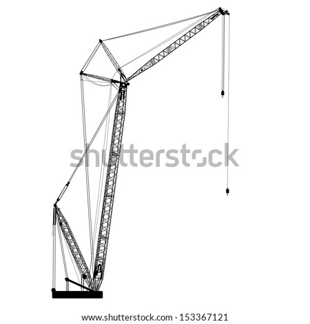 Silhouette of one cranes. Vector illustration. - stock vector