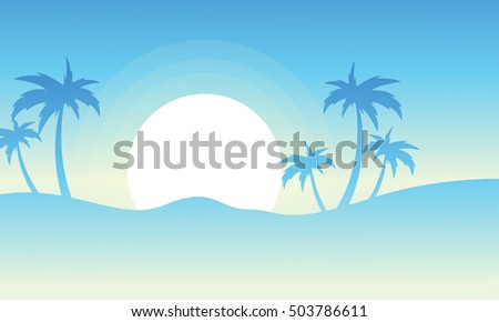 Silhouette of palm at sunrise vector illustration