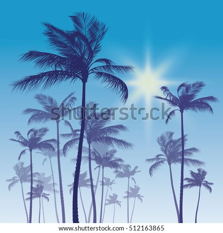 Silhouette of palm tree on sunset sky