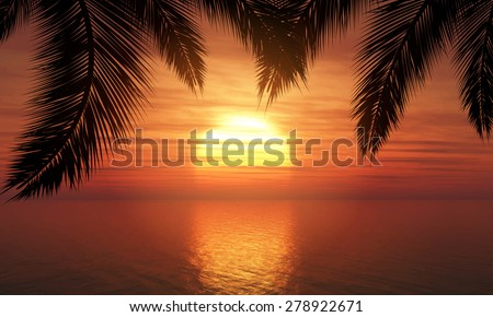 Silhouette of palm trees against a sunset ocean - stock vector